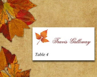 Fall Wedding Place Card Template | Autumn Wedding Rustic Leaves Burnt Orange Red | Wedding Table Card Place Setting Escort Card