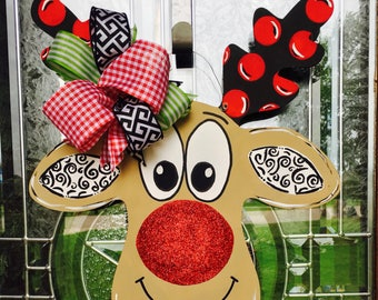 Reindeer door hanger, christmas door hanger, christmas decor, wood door hanger, holiday door hanger