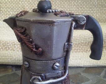 Steampunk coffee maker. Steampunk greca.