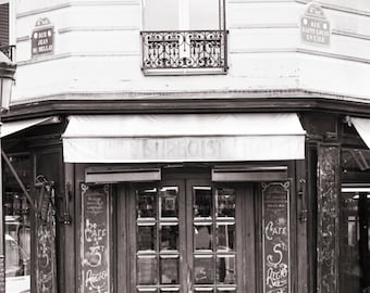 Paris Cafe Photograph, Morning at Cafe St. Regis, Black and White Photo, Large Wall Art, French Kitchen Decor, Travel Photograph
