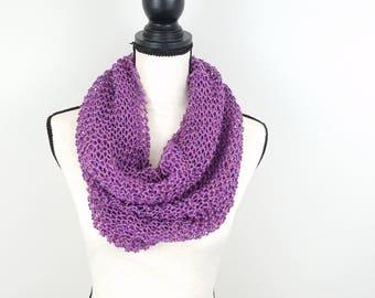 Lightweight Hand Knit Purple Cowl