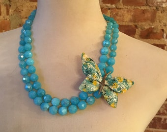 Teal Blue Agate Double Strand Necklace with Vintage Butterfly Brooch