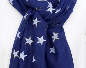 Navy Pashmina with white star designs and gold sparkles