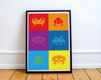 Pop Art Space Invaders Videogame Poster Print