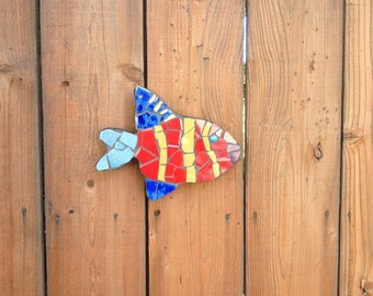 Tropical fish sculptures, tile mosaic fish, fence ornaments, fish sculptures, pool decor, fence decoration