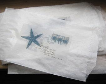 french market etoile de mer (starfish) paris postcard sacks set of 7