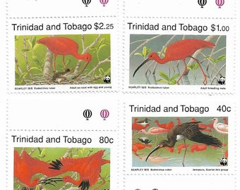 Set of 4 Trinidad & Tobago Postage Stamps Scarlet Ibis (Mint). For collectors, invites, card and mail-art, scrapbooks, collage, journals