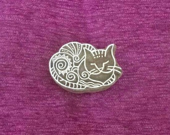 Indian hand carved wood printing block, Textile Stamp, Pottery stamp, fabric stamps, soap stamps, tjaps, batik stamp - kitten