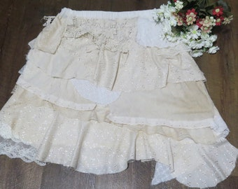 ON SALE Shabby Forest Skirt with White and light Brown Tea Stained Ruffles, Frills and Lace.