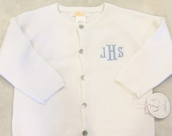 Boy's monogrammed cardigan sweater, youth personalized white cardigan, cardigan with monogram, Christmas sweater, embroidered
