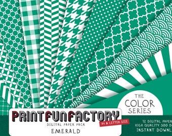 Emerald green digital paper - Emerald scrapbook background patterns - 12 digital papers (#040) INSTANT DOWNLOAD
