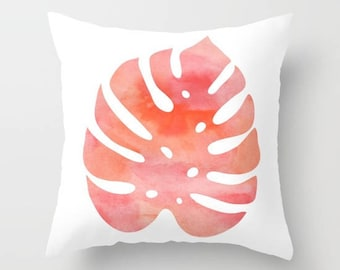 Monstera Leaf Pillow Cover - Modern Leaf Pillow Cover - Philodendron Leaf Pillow Cover - Coral Decor - Modern Home Decor - includes insert