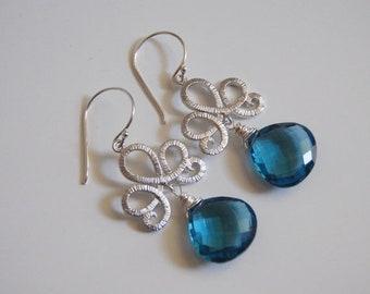 Mothersdaysale Gorgeous London Blue Quartz dangle Earrings.