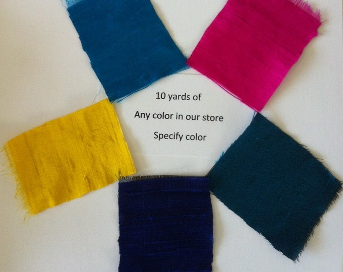 "100% dupioni silk fabric 10 yards Your choice of any color from our store: green blue pink red orange yellow SPECIFY color under ""comments"""