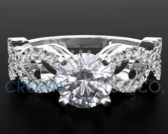 Ladies Engagement Ring 2.00 ct Round Brilliant Cut Diamond G VS Solitaire With Accents Wedding Ring In White Gold Setting