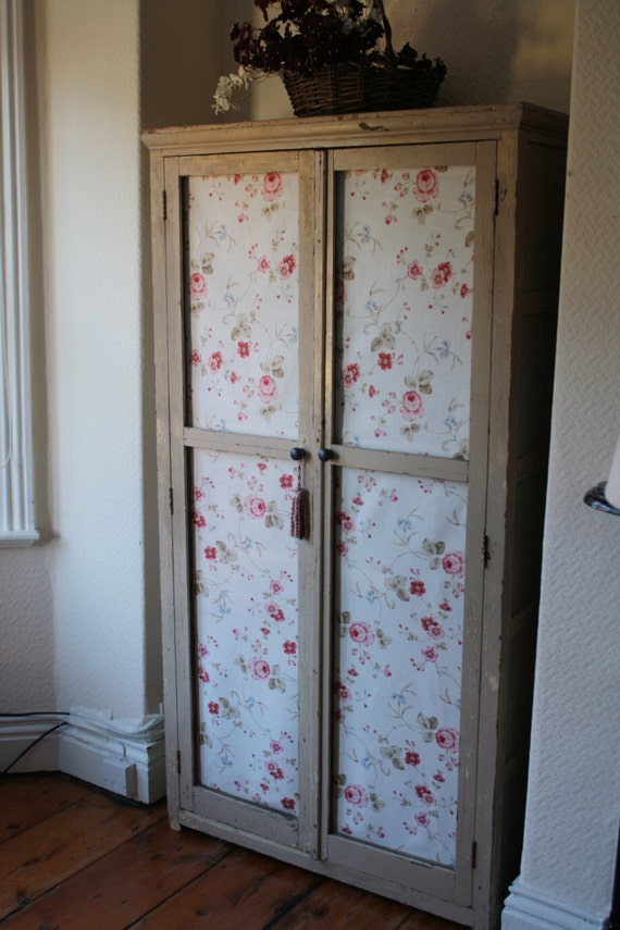 & Original Vintage French Linen Cupboard with Fabric Doors and