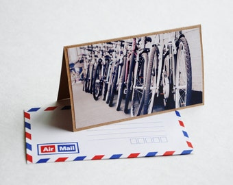 Bicycle Greeting Card - England Travel Photography, Brown Card with Air Mail Envelope, Blank Greeting Card, Cambridge England