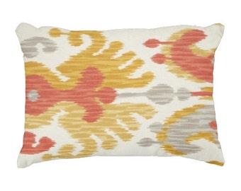 Lumbars, 12x16 inch Ikat Pillows, Orange Pillows, Yellow Pillows, Throw Pillows, Pillows for couch, Chair Pillows, Cushion Covers