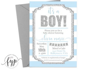 Baby Boy Shower Invitation Printable Baby Shower Invite Boy Shower Invitation It's A Boy Boy Sprinkle Invitation Blue and Silver Glitter