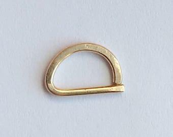 D Septum Ring, Smooth Hammered Rose Gold Septum Ring 14K Gold Filled 925 Sterling Silver Septum Ring.