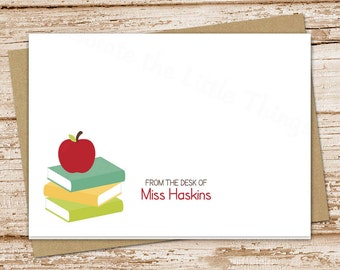 apple teacher note cards . notecards . personalized stationery . books stationary . school teacher gift . folded cards . set of 8