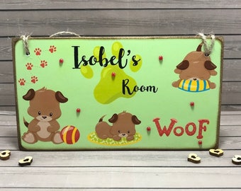 Personalised Puppy Room Sign, Nursery Decor, Children's Name Plaque, Girls Door Sign, Puppy Dog Door Plaque, Puppy Name Sign, Boys Door Sign