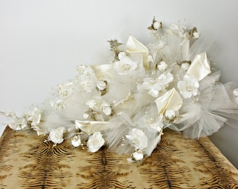 Authentic Vintage Bridal Flower White and Cream Bouquet with Tulle & Satin and Pearls  AS185