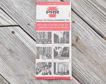 Vintage Pennsylvania Rail Road schedule Accomodations and Fres Time Table