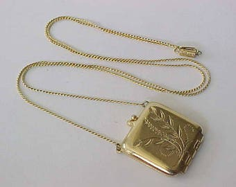Signed 1928 Brand Locket Pendant Necklace Vintage Unusual