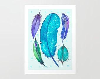 Feathers - A4 Art print