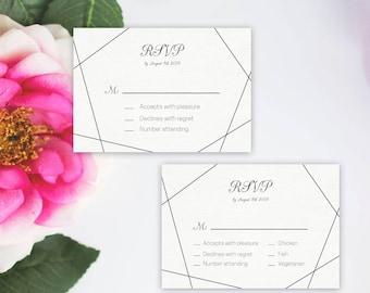 Geometric Wedding RSVP Template, Wedding Response Card, Modern Chic rsvp card, Black white, DIY Instant Download