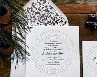 Letterpress Wedding Invitations, Modern, Bohemian, Delphine sample
