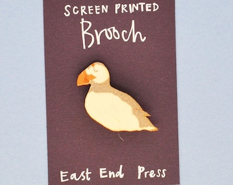 Puffin Wooden Screen Printed Brooch - pin badge