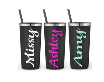 Personalized Tumbler With Straw and Lid Employee Gifts Employee Appreciation Gifts Black stainless cups, 22 oz, Stainless Tumbler