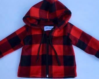 Hoodie Buffalo Plaid Baby Toddler Fleece Hoodie Jacket