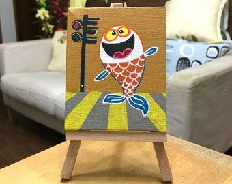 ORIGINAL Art - Fish Crossing - Acrylic on mini canvas - FREE Shipping!