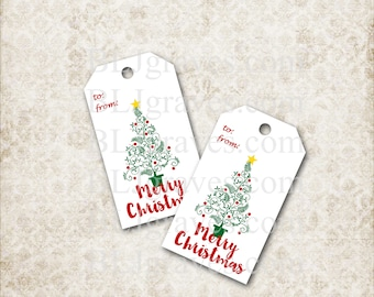 Printable Merry Christmas Gift Tags Christmas Party Favor Treat Bag Tags TC008