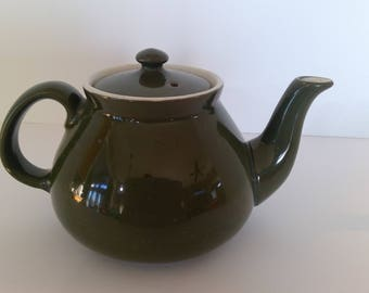 Green Teapot, Hall China Company, New York Style, Hot Drink Server, Coffee Server, Kitchen Decor, Mid-Century