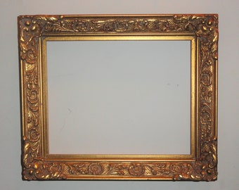 Gold Wood Framed Ornate Detailed Wall Home Decor Picture FRAME DIY Project Repurpose