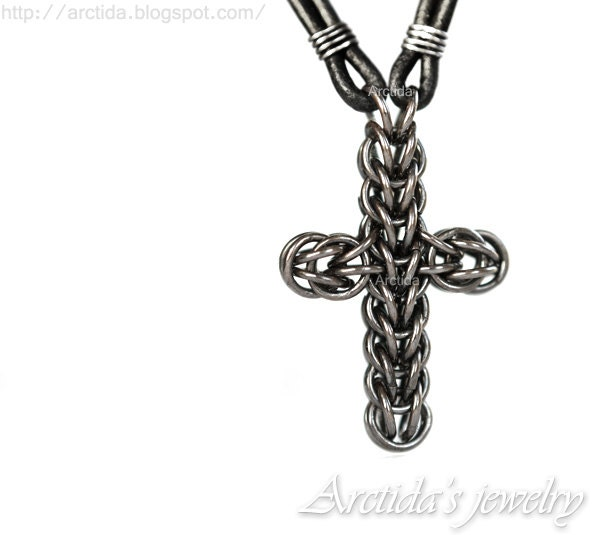 Mens jewelry Mens necklace Celtic Cross necklace chainmaille