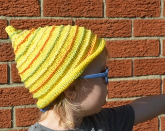 Knitted Fun Yellow Orange and Green Gnome Hat size 2/3