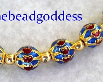 New 5 ELEGANT Hand Painted Chinese CLOISONNE Beads Blue Red GOLD 8mm