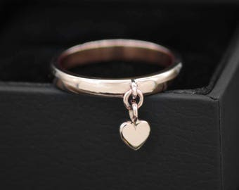 Heart charm ring, Rose gold ring, Love heart ring, dangle charm ring, gold stacking ring, rose gold wedding band