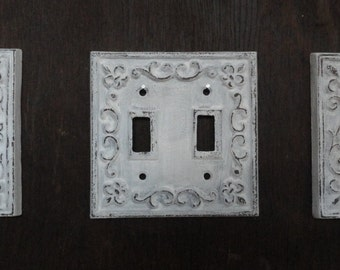 Cast iron, switch plate, antique white, shabby, cottage, fleur de lis, chic, home decor, cottagexpressions, distressed white, light switch