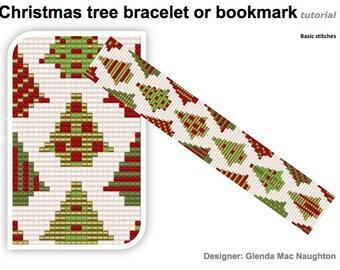 Christmas trees bracelet or bookmark beadweaving tutorial