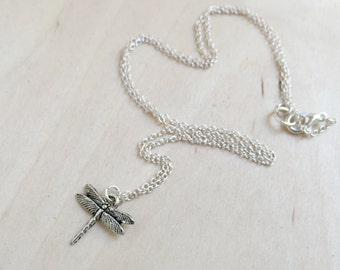 Tiny Dragonfly Necklace | Silver Dragonfly Charm Necklace | Cute Dragonfly Pendant