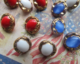 3 Vintage 1940's Red, White and Blue Glass Buttons