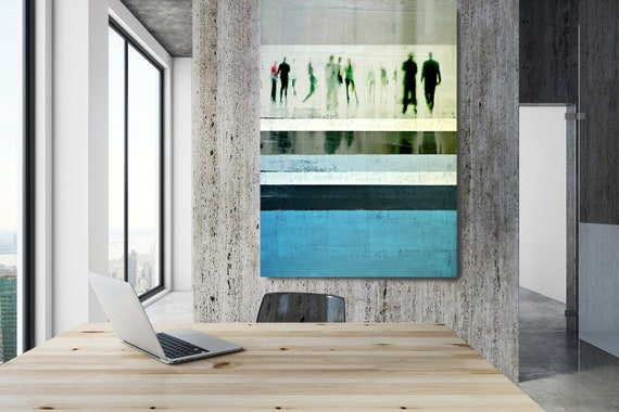 """Going To Work 6,  Art for Your Office, Office Wall Art, Blue Corporate Office Decor, Extra Large Canvas Art Print up to 72"""" by  Irena Orlov"""