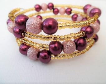 Wine and Pink Bracelet, Wrap Bracelet, One Size Bracelet, Pink Pearl Bracelet, Wedding Jewelry, Bridesmaids Gift, Bridesmaids Jewelry