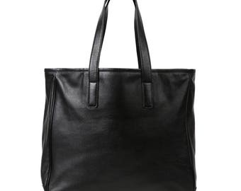 Vegetable tanned leather tote bag, Mens tote bag black